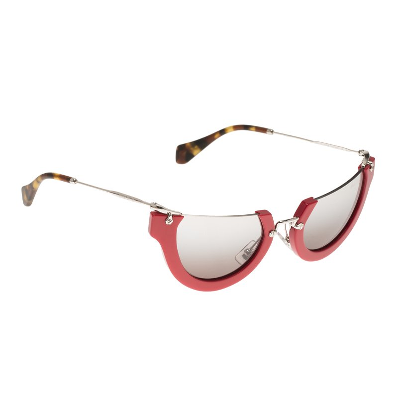7881b05f4079 Buy Miu Miu Red SMU11Q Semi Rimless Wink Cat Eye Sunglasses 70074 at ...