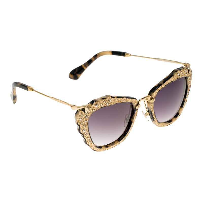 1b66f6d1492c Buy Miu Miu Gold SMU 04Q Embellished Cat Eye Sunglasses 81126 at ...