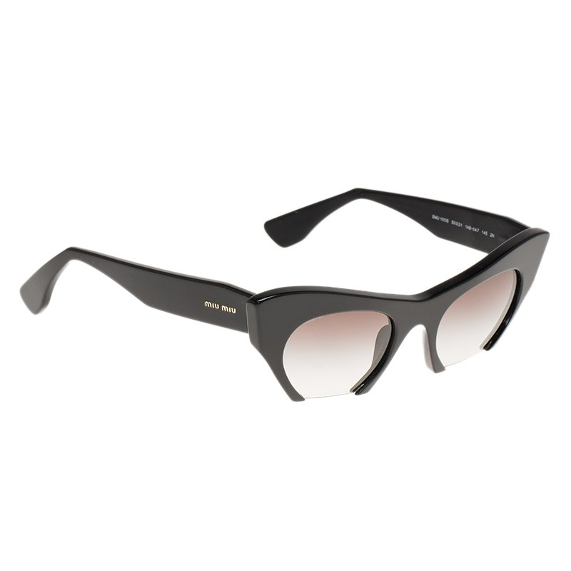8a6fa17468 Buy Miu Miu Black SMU 10OS Semi Rimless Cat Eye Sunglasses 85303 at ...