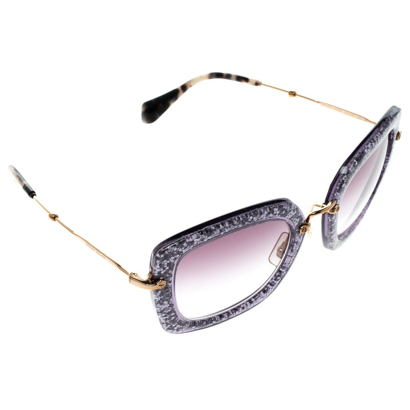 9936a4205f27 Buy Miu Miu Purple Glitter SMU070 Cat Eye Sunglasses 92067 at best ...