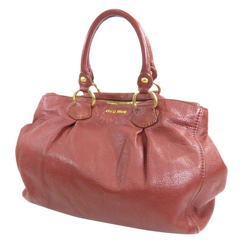 1f44ba94af94 Buy Miu Miu Bordeaux Leather Top Handle Bag 101116 at best price