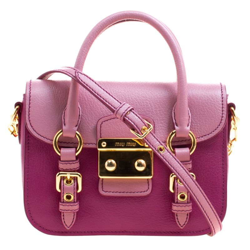 Buy Miu Miu Purple Pink Leather Satchel 102261 at best price  4237a774262d8