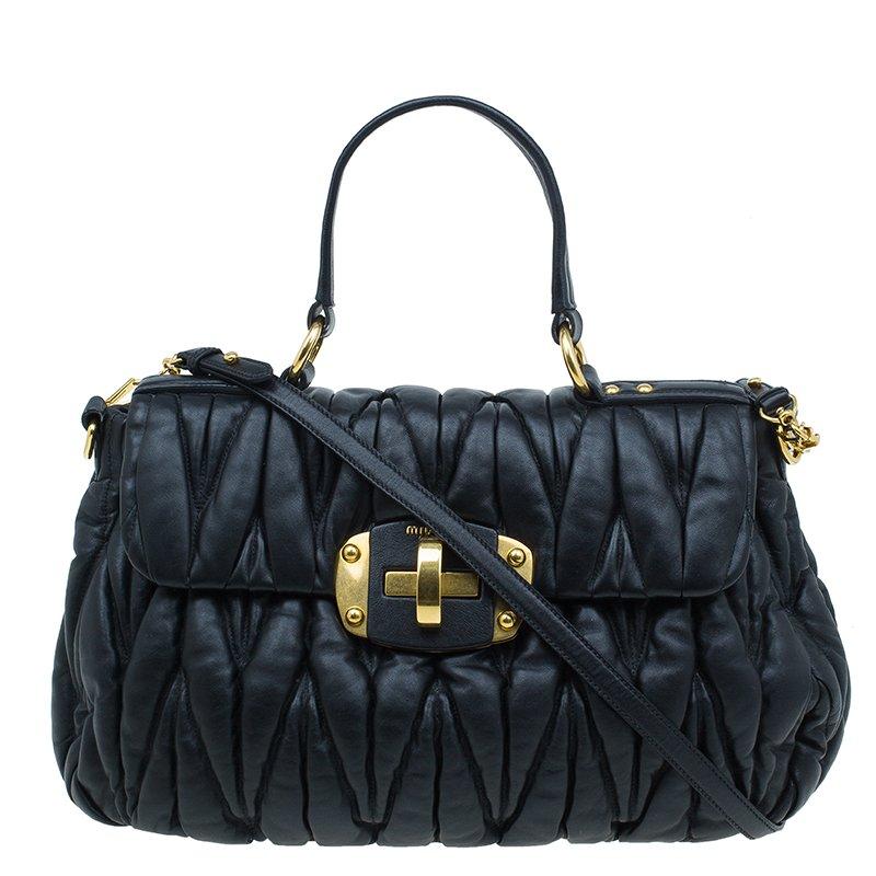 Buy Miu Miu Black Matelasse Leather Bauletto Bag 43893 at best price ... 6dbc55dedfee6