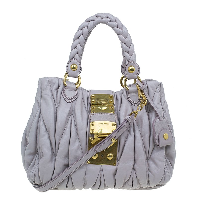 2737751f1a6a ... Miu Miu Nube Matelasse Lux Leather Bauletto Shoulder Bag. nextprev.  prevnext