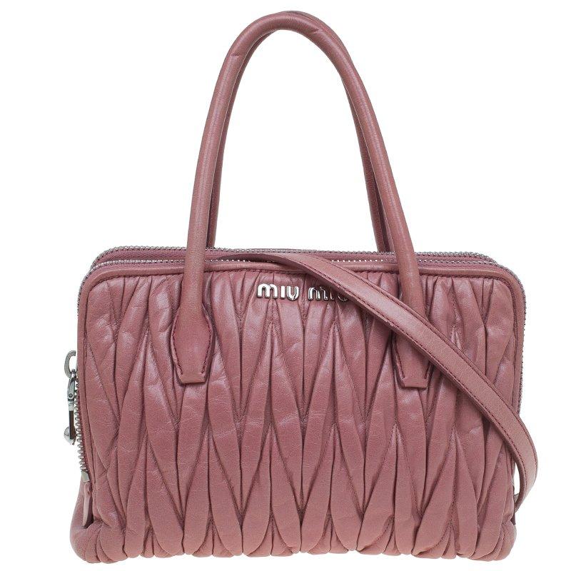 351008ad5a1f ... Miu Miu Pink Matelasse Leather Top Handle Bag. nextprev. prevnext