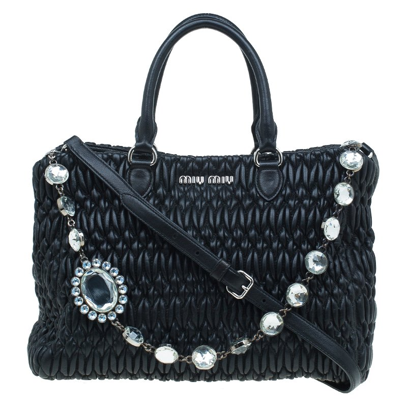 a6c050108403 ... Miu Miu Black Matelasse Nappa Leather Crystal Tote. nextprev. prevnext