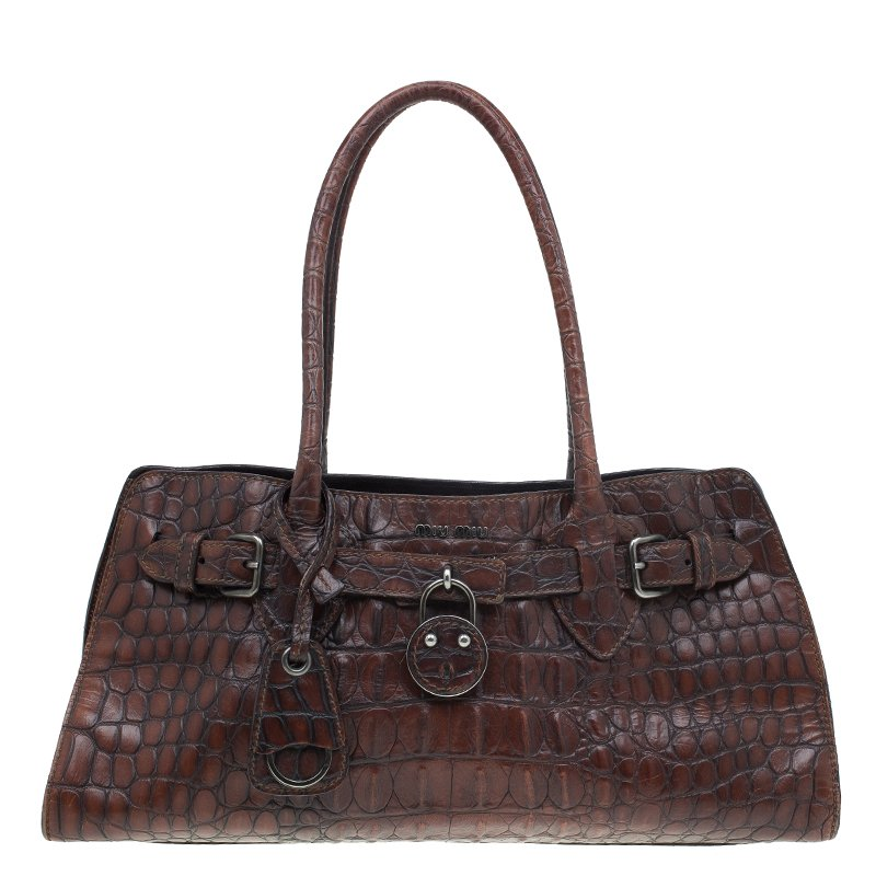 352c112f47f680 Buy Miu Miu Brown Croc Embossed Leather Vintage Tote 55192 at best ...
