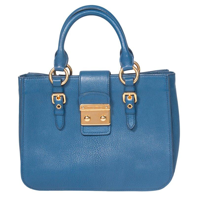 Buy Miu Miu Blue Pebbled Leather Madras Tote 62022 at best price  5dcabccb403ef