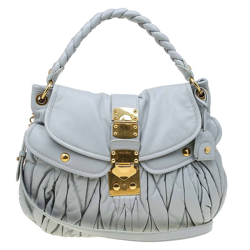 Buy Miu Miu Grey Matelasse Lux Leather Coffer Hobo 70202 at best ... 11ba4709eefb0