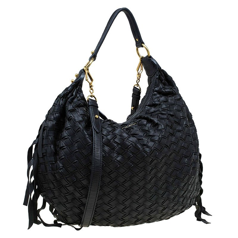 d63dcb62a6b Buy Miu Miu Black Woven Leather Fringe Hobo 74592 at best price