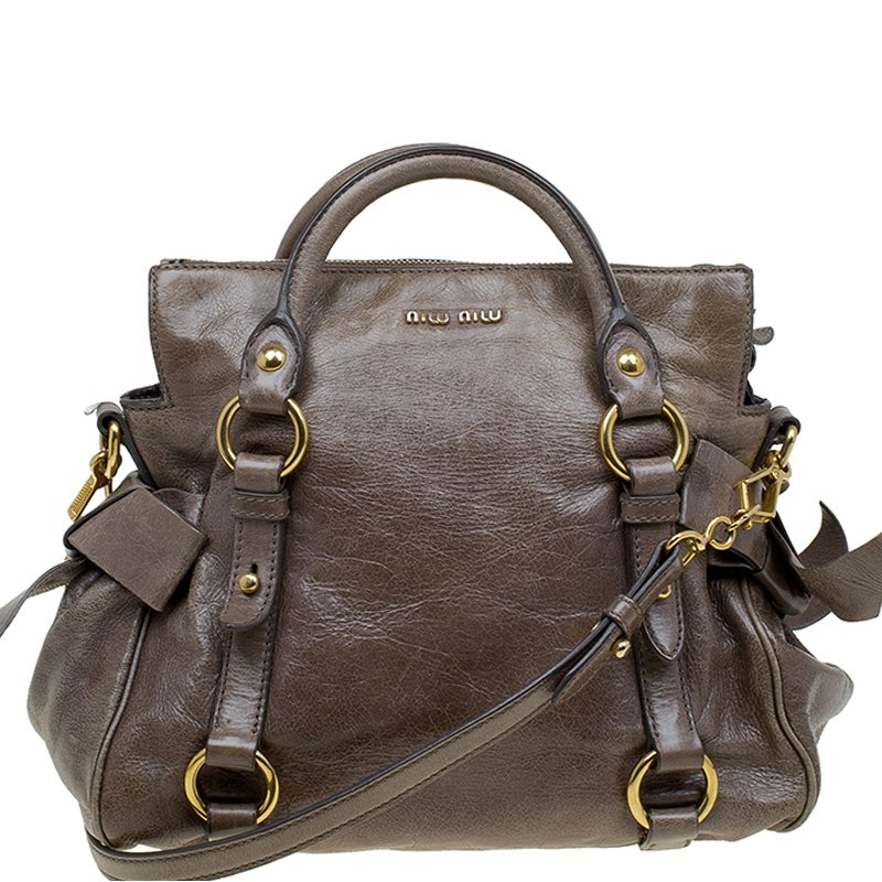 298fe34ea70 Buy Miu Miu Dark Grey Vitello Lux Leather Bow Top Handle Bag 81948 ...