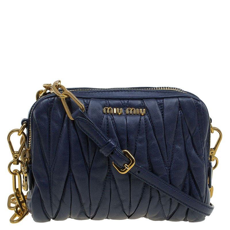 6a920f6ea026 ... Miu Miu Blue Matelasse Lux Leather Piccole Borse Crossbody Bag.  nextprev. prevnext