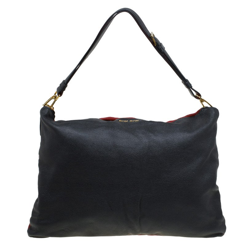 28cdf8b3a11 Buy Miu Miu Bi Color Leather Cloud Shoulder Bag 87771 at best price ...