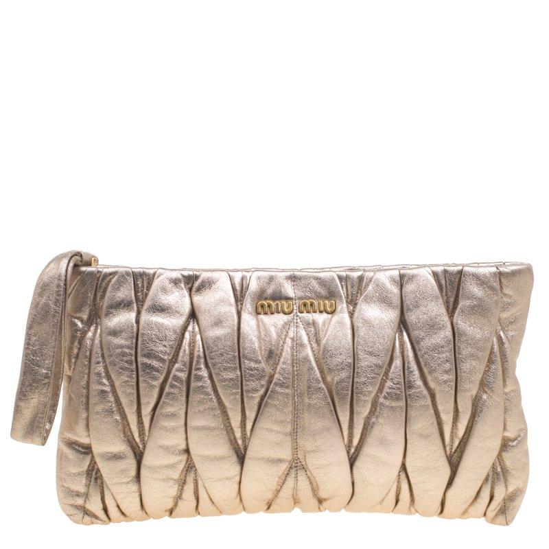 c8fc0518164 Buy Miu Miu Gold Matelassé Leather Clutch 93440 at best price   TLC
