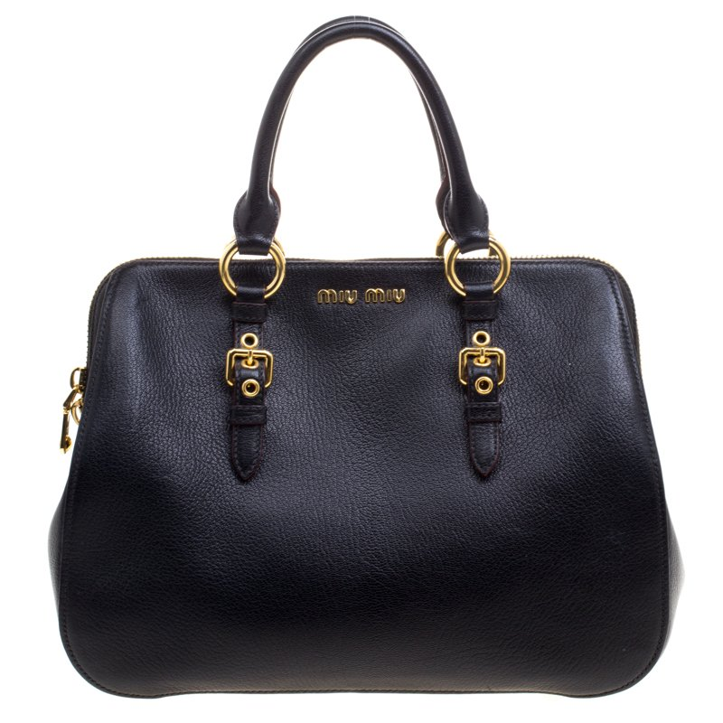 Buy Miu Miu Black Leather Madras Bowling Bag 98633 at best price  57bdf6c015a39