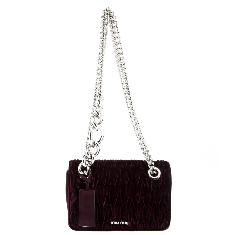 007271d3763c ... Miu Miu Burgundy Matelassé Velvet Small Club Shoulder Bag. nextprev.  prevnext