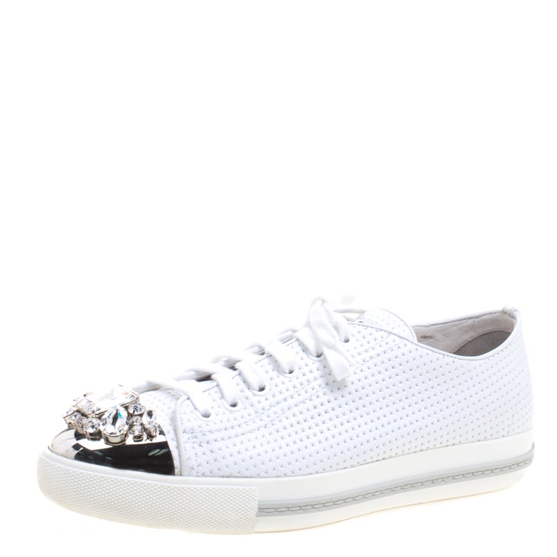 timeless design 71d8c a5f49 Miu Miu White Perforated Leather Crystal Embellished Cap Toe Sneakers Size  39