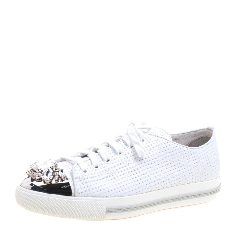 143b9519f9d Buy Miu Miu White Perforated Leather Crystal Embellished Cap Toe ...