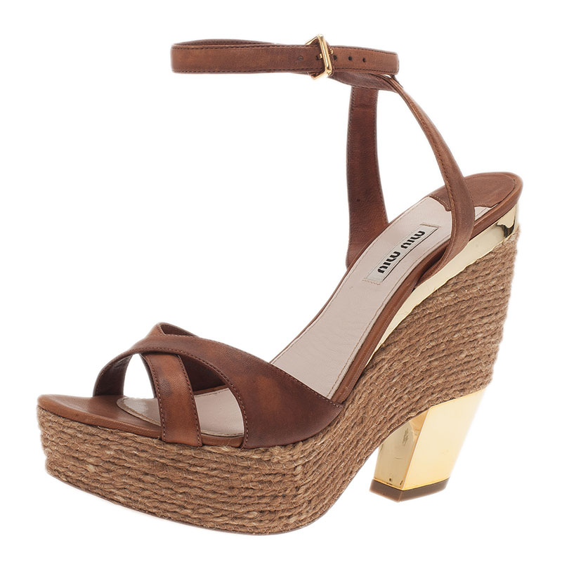 cbd7198404a Buy Miu Miu Brown Leather and Jute Strappy Espadrille Wedge Sandals ...