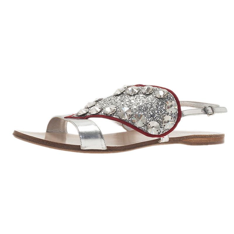 2d25bb5bfb5ee ... Miu Miu Silver Metallic Leather Glitter Heart Flat Sandals Size 38.5.  nextprev. prevnext