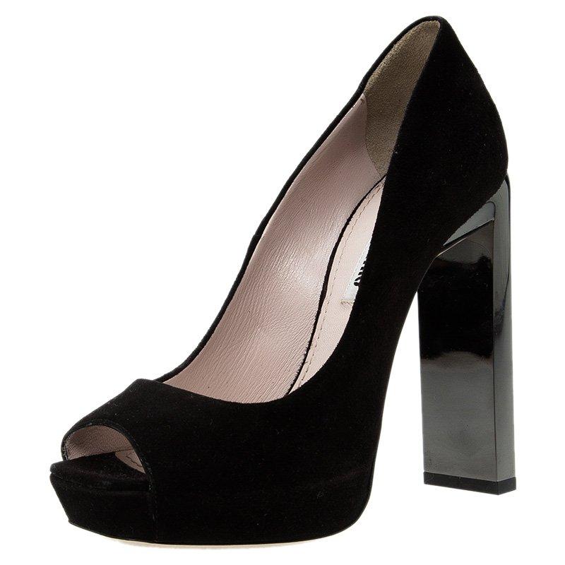 ff5d29a15abb ... Miu Miu Swarovski Crystal Heel Peep Toe Platform Pumps Size 36.  nextprev. prevnext
