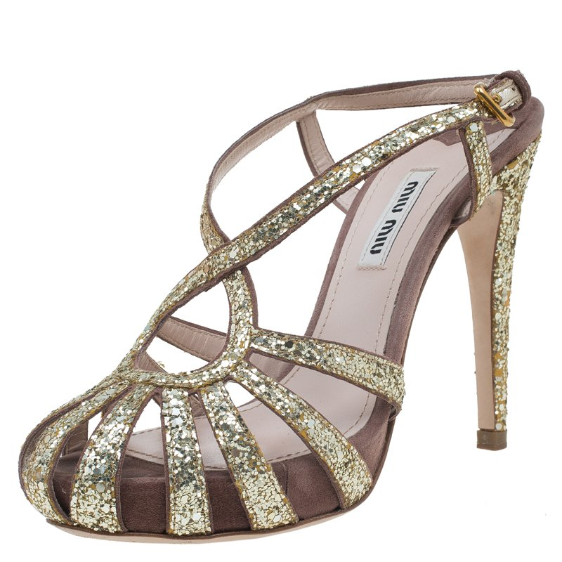 8c70a2d6dc6 ... Miu Miu Gold Glitter and Brown Suede Cut Out Platform Sandals Size 35.  nextprev. prevnext