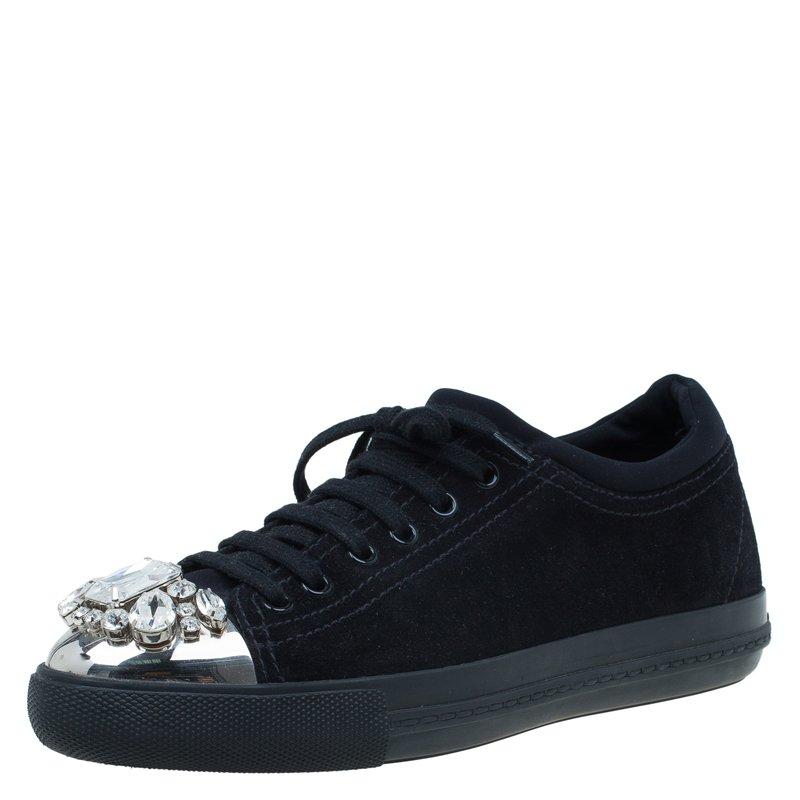 Buy Miu Miu Black Suede Crystal Cap Toe Suede Sneakers Size 39 55203 ... 7ddcaa5550c1