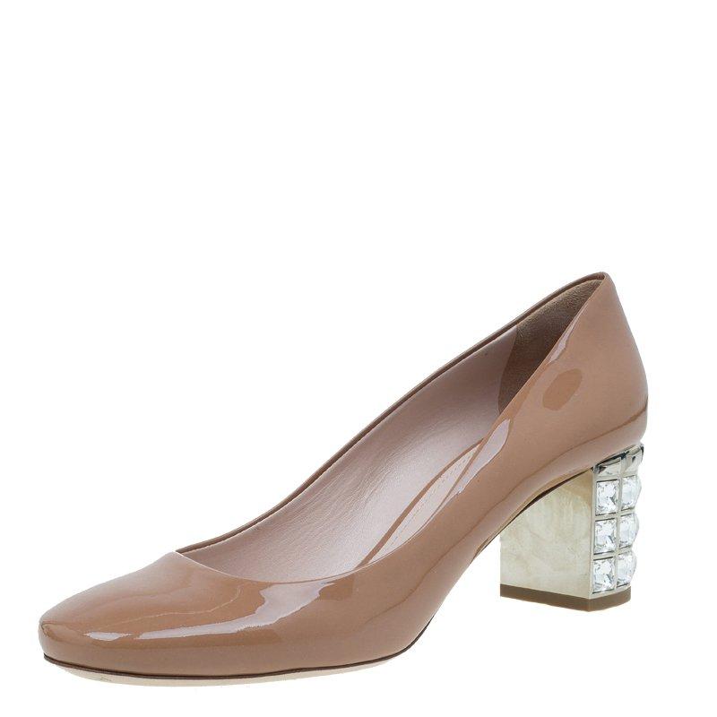 Miu Miu Brown Patent Jeweled Block Heel