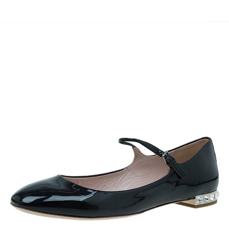 f86380050ab Buy Miu Miu Black Patent Jeweled Mary Jane Ballet Flats Size 39.5 ...