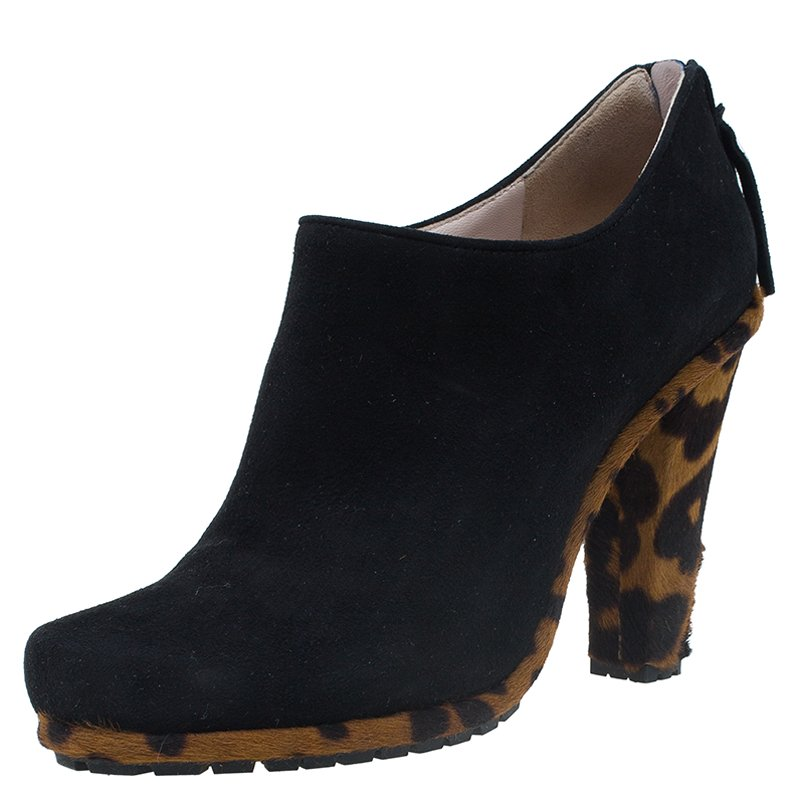 Miu Miu Black Suede and Leopard Print Hair-On Ankle Boots Size 38