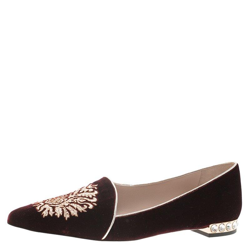31e867fc514 Buy Miu Miu Burgundy Embroidered Velvet Embellished Heel Pointed ...