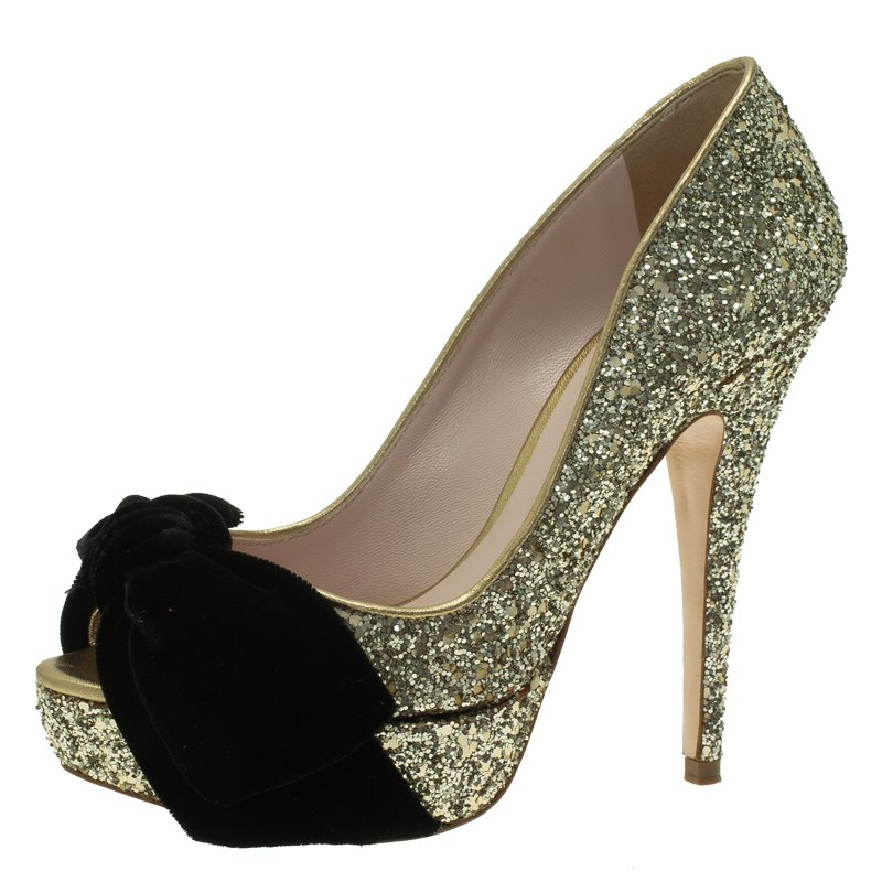 be1367126d8 Buy Miu Miu Gold Glitter Velvet Bow Peep Toe Platform Pumps Size 35 ...