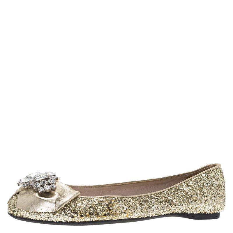 657e621991 Miu Miu Gold Glitter Crystal Embellished Bow Ballet Flats Size 39.5