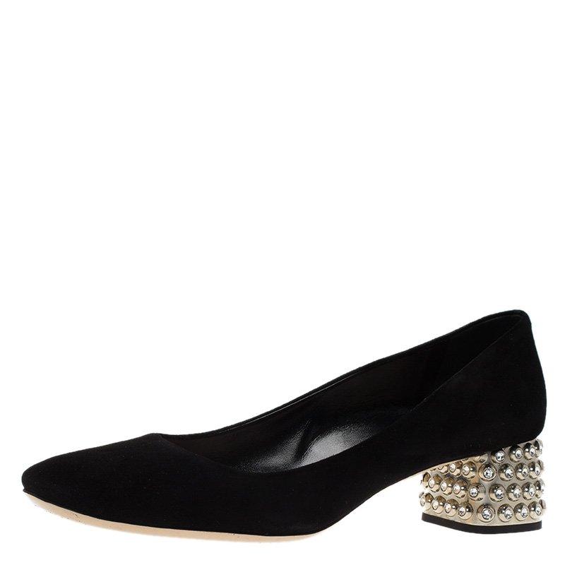 bfec893855c ... Miu Miu Black Suede Crystal Block Heel Pumps Size 39. nextprev. prevnext