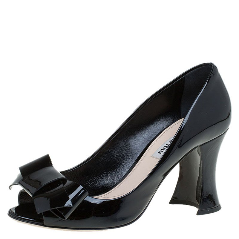 99f0df412ec Buy Miu Miu Black Patent Bow Peep Toe Pumps Size 38.5 83364 at best ...