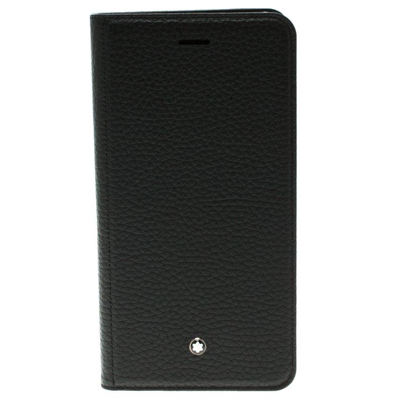 new product 25e1d cc06c Montblanc Black Leather Meisterstuck iPhone 6S Plus Flipside Case