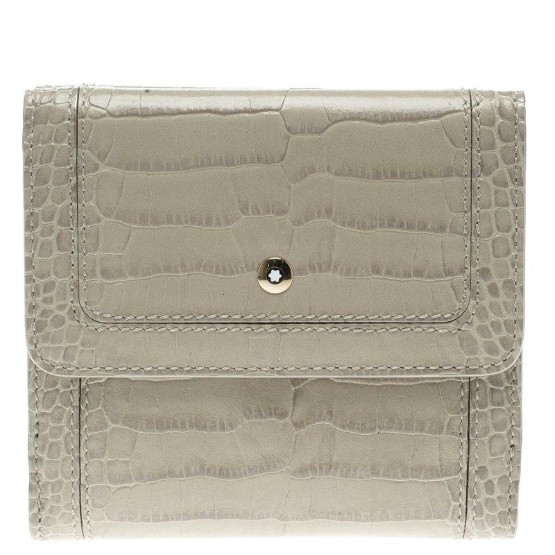 Montblanc Beige Croc Embossed Leather 6CC Flap Wallet