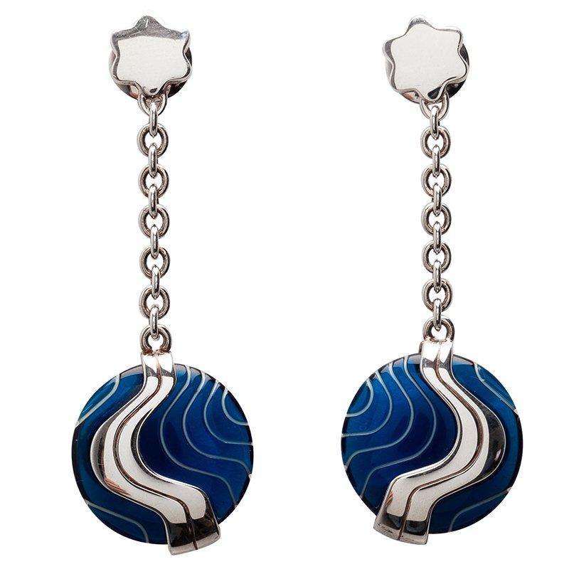 Montblanc Blue Pendant Silver Earrings