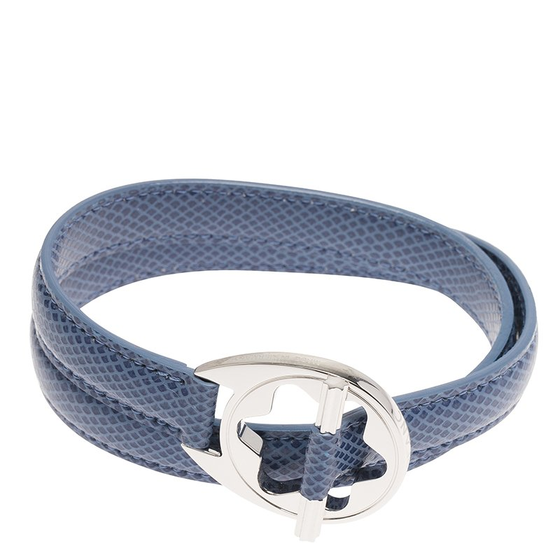 Montblanc Star Collection Hold Me Tight Arctic Blue Leather Silver Bracelet Size 18cm
