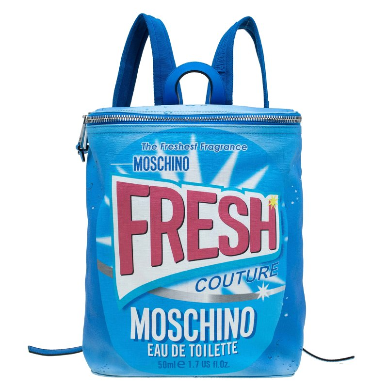 581eddb206 Buy Moschino Blue PVC Fresh Couture Print Backpack 77648 at best ...