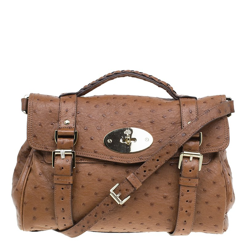 8374aca8359 Buy Mulberry Brown Ostrich Leather Alexa Satchel Bag 46117 at best ...