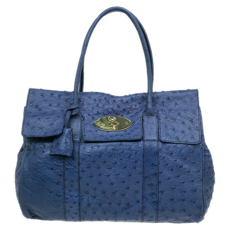 96887b7cbab7 Buy Mulberry Blue Ostrich Leather Bayswater Satchel Bag 44843 at ...