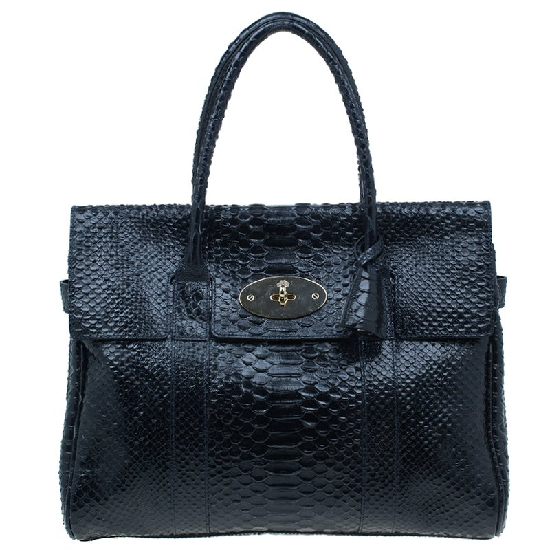 Mulberry Black Bayswater Silky Snake Print Tote