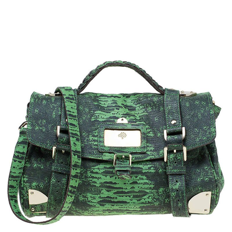 56a3eeb1c02 Buy Mulberry Green Lizard Embossed Leather Alexa Shoulder Bag 77166 ...