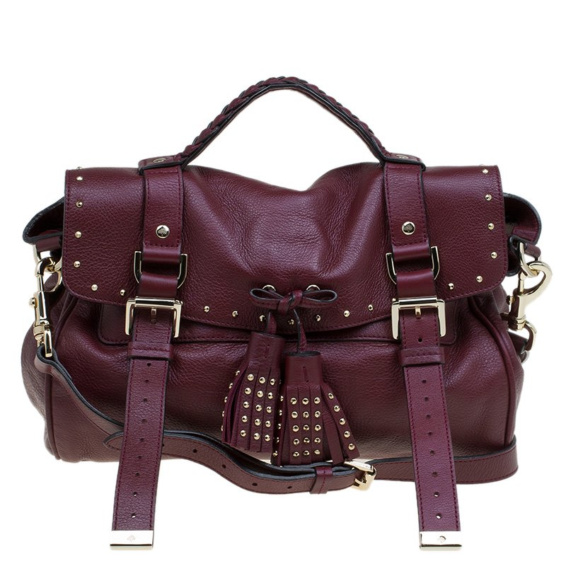 Buy Mulberry Burgundy Leather Studded Tassel Alexa Satchel 80278 at ... e647a0c8ea30b