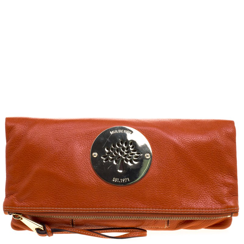f0ce8e0a6d Buy Mulberry Orange Leather Daria Fold-over Clutch 98459 at best ...