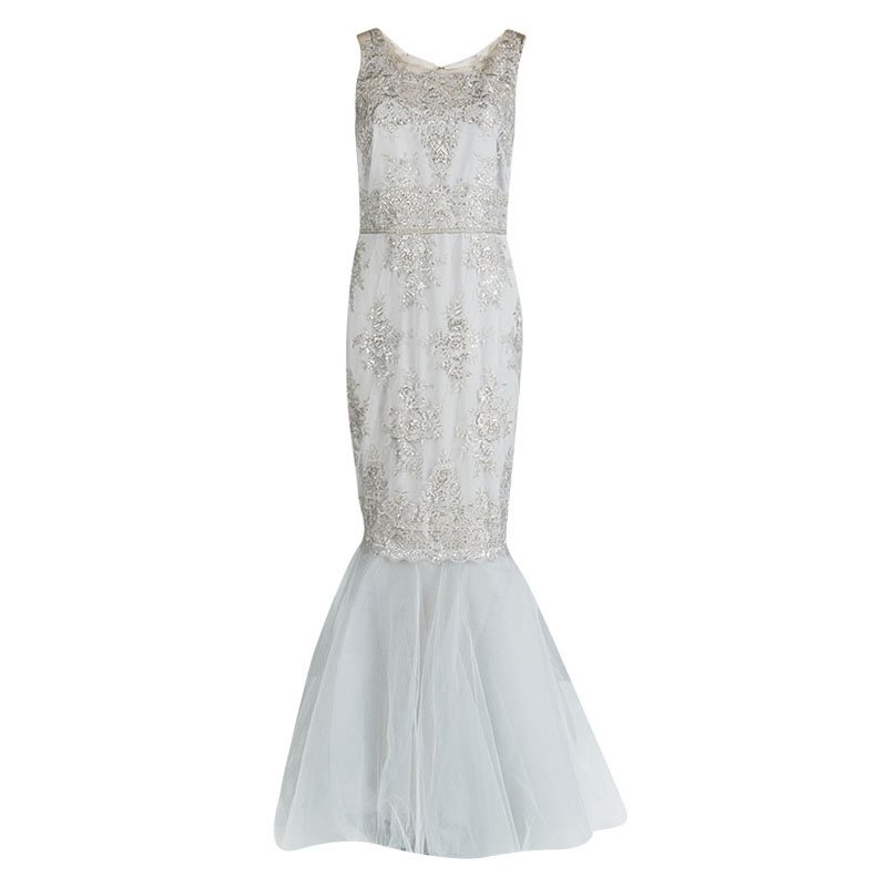 Notte by Marchesa Grey Embroidered Embellished Tulle Detail Sleeveless Gown S