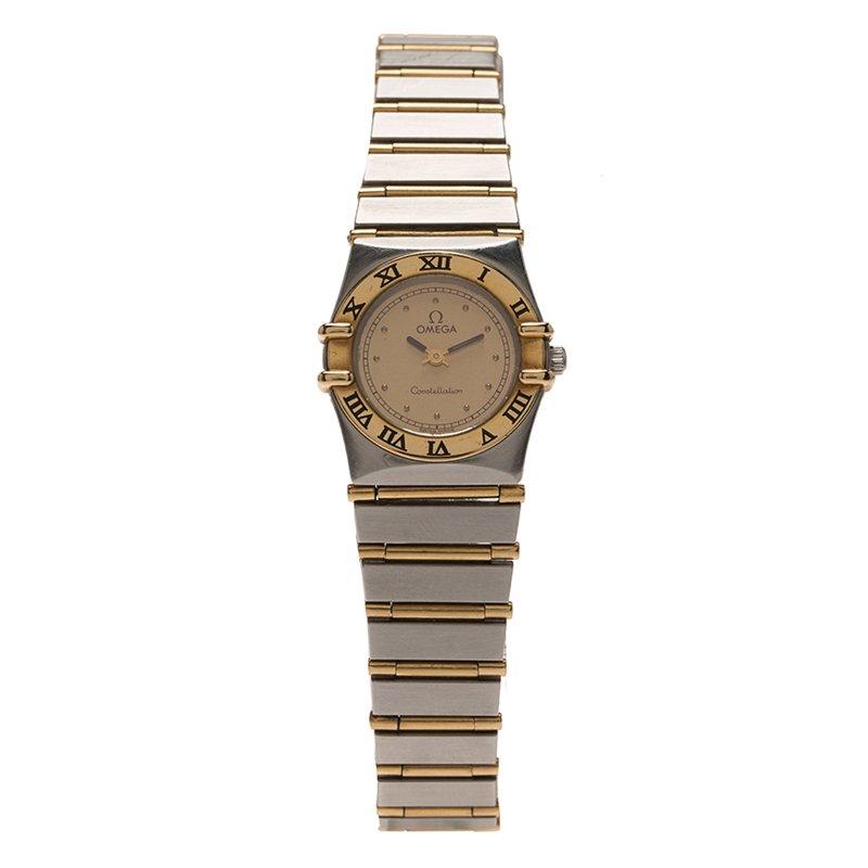 Omega Cream Stainless Steel Constellation Women's Wristwatch 24 MM