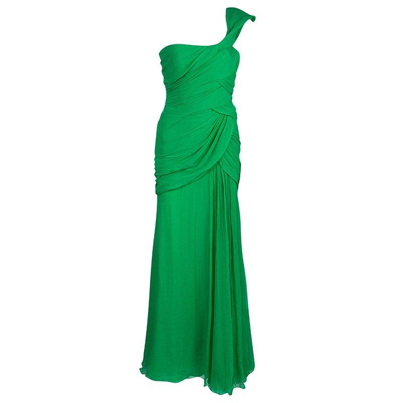 Oscar De La A Green Silk Chiffon