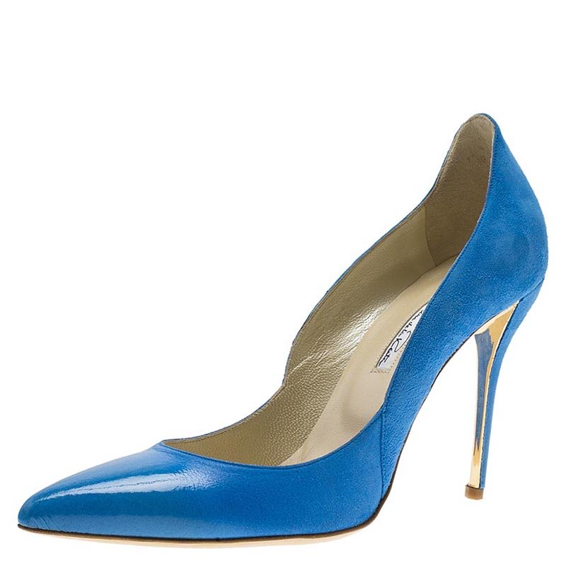 Oscar De La Renta Blue Leather and Suede Sabrina Pointed Toe Pumps Size 39